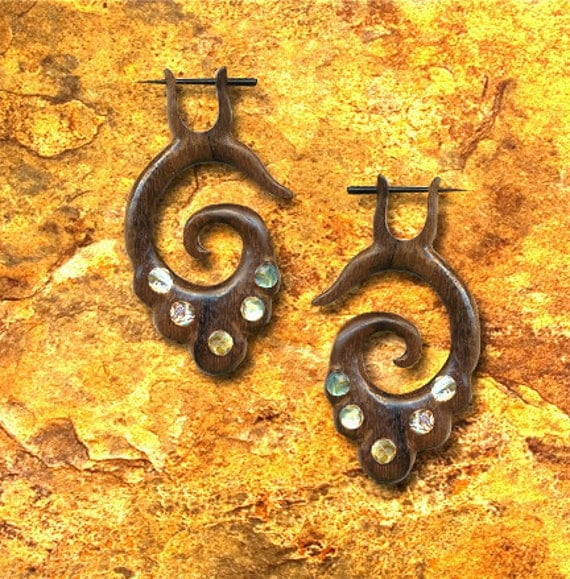 SALE - Wood Post Earrings - Maeve Spiral w/ Inlay - Brown Sono Wood