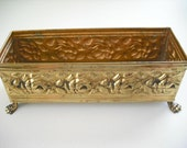 VINTAGE BRASS PLANTER - 1960's -  Great Floral Gift - Made in England - With Repousse Roses and Clawed Lion's Feet