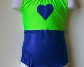 gymnastics leotard -Lime Green and Hologram Blue leotard with heart appliques and racer back. Available in girls sizes 2 through 13.