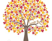 Wedding Tree with Love Birds Guest Book Alternative Poster, Wedding Gift, Personalized with Your Own Colors, 17x22