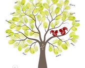 Fingerprint Wedding Tree Guest Book Poster - Engagement Tree Squirrels Guestbook Alternative Print - 11x14 inches - 40-70 Thumbprints