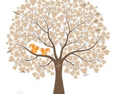 Wedding Tree with Squirrels Guest Book Poster, Anniversary or Housewarming Gift, Personalized with Your Own Colors, 16x20 (120 signatures)