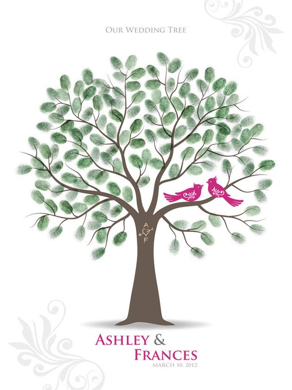 Items similar to Thumbprint Wedding Tree Guest Book Poster ...