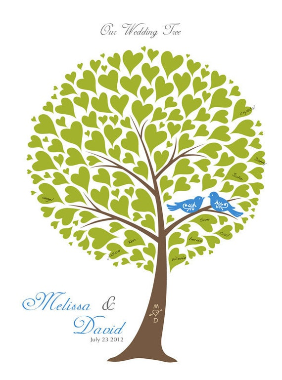 items similar to wedding tree guest book signature poster