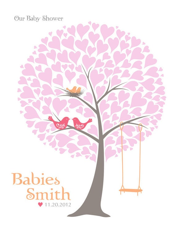 Baby Shower Tree Guest Book Print - Nursery Wall Art - Family Tree - Personalized Print Love Birds & Swing - 16x20 inches