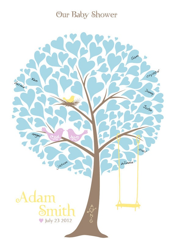 Baby Shower Tree Guest Book Print - Nursery Wall Art - Family Tree - Personalized Print Love Birds & Swing - 13x19 inches