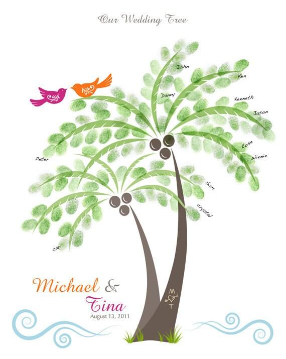 Beach Wedding Palm Tree Thumbprint Guest Book Poster - Destination Wedding - Anniversary Guestbook - 16x20 inches - 100-150 Thumbprints