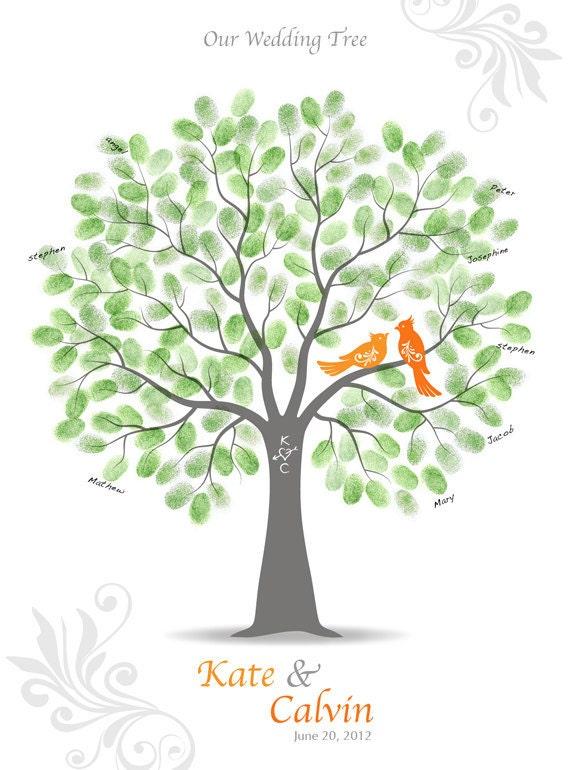 Thumbprint Wedding Tree Guest Book - Anniversary Guestbook Alternative - Wedding Tree Love Birds Print - 18x24 inches - 150-200 Thumbprints