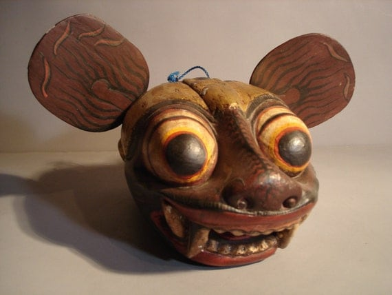 Exotic Wood Carved Mask Vintage Scary Teeth Bulding Eyes Dangling Tongue All Wooden Hand Made Art Wall Hanging