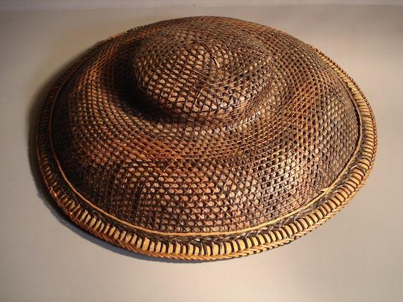 Straw Wicker Hat Exotic Asian Vintage Oriental