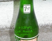 Early 1950s 7UP Green Glass Soda Bottle
