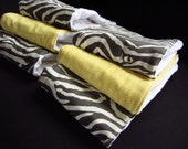Premium Baby Burp Cloth Set of 6- Gray Zebra and Yellow