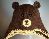 Brown Teddy Bear Hat with Earflaps and Braids - All Sizes Newborn Baby Child Teen Adult - Knitted Animal Hat