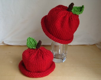 Red Apple Hat - Baby, Toddler and Child Size Beanie - Hand Knit Hat