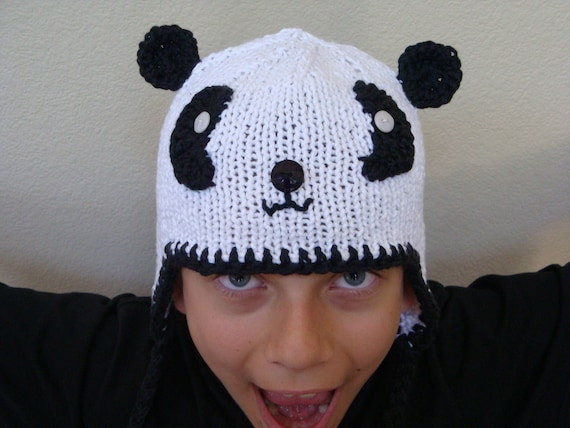 Panda Hat with Earflaps - Newborn to Adult Sizes - Knitted Animal Hat