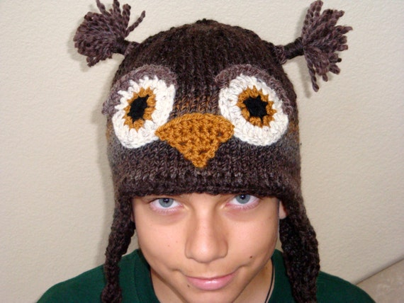Brown Owl Hat, newborn to adult, Photo Prop, Knitted Animal Hat, Owl Beanie, Owl Hat