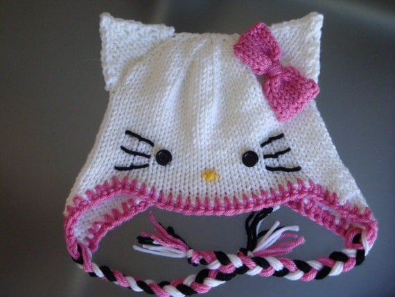 Knitting Pattern Hello Kitty Jumper : Hello Kitty Hat with Earflaps and Pink Bow Newborn to Adult