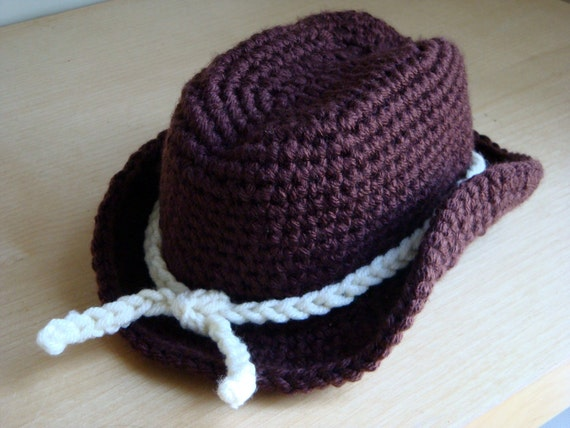 Crochet Cowboy Hat Photography Prop Hat By
