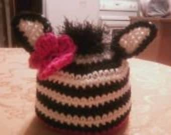 Crochet Zebra Hat with fur and flower