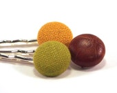 Covered Button Bobby Pins - brown leather trio