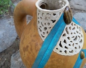 Gourd Art Carved Filigree Pitcher with Stone Inlay