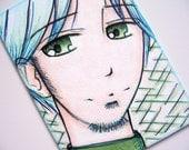 ACEO - Anime Manga Guy - Original Illustration OOAK ATC - Blue Hair Green Eyes - Copic Markers