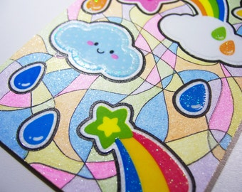ACEO - Kawaii Cloud Rainbow Shooting Stars - Stickers & Original Abstract Glitter Design