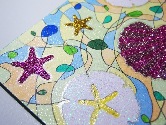 ACEO - Beach Seashells Sand Starfish - Stickers & Original Abstract Glitter Design