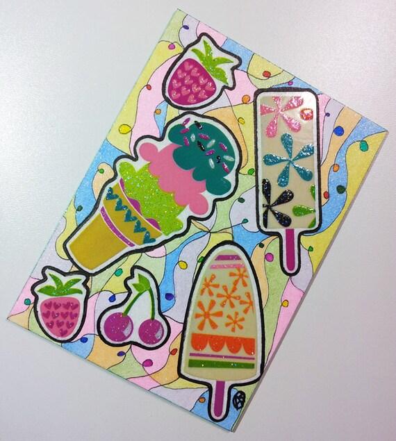ACEO - Kawaii Ice Cream Cherry Strawberry - Stickers & Original Abstract Glitter Design