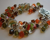 Autumn Dichoric Glass Beads and Swarovski Crystal Bracelet
