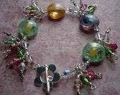Lollipop Lampwork Glass and Swarovski Crystal Bracelet