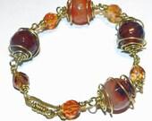 Wirewrapped Agate and Czech Glass Jeweler's Bronze Bracelet