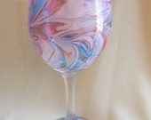Decorative Marbled Wine Glass