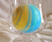 Round Yellow Blue and Green Marbled Candle
