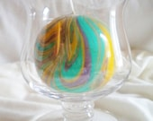 Round Purple Yellow and Green Marbled Candle