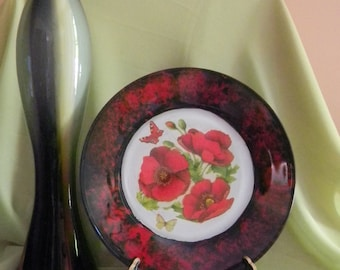 Decorative Plate Red Poppy on Black