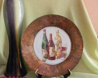 Decorative Decoupage Plate Wine Bottles
