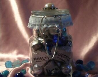 Silver and Aqua Colored Wish Stones Home Decor