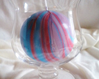 Round Purple Red and Blue Marbled Candle
