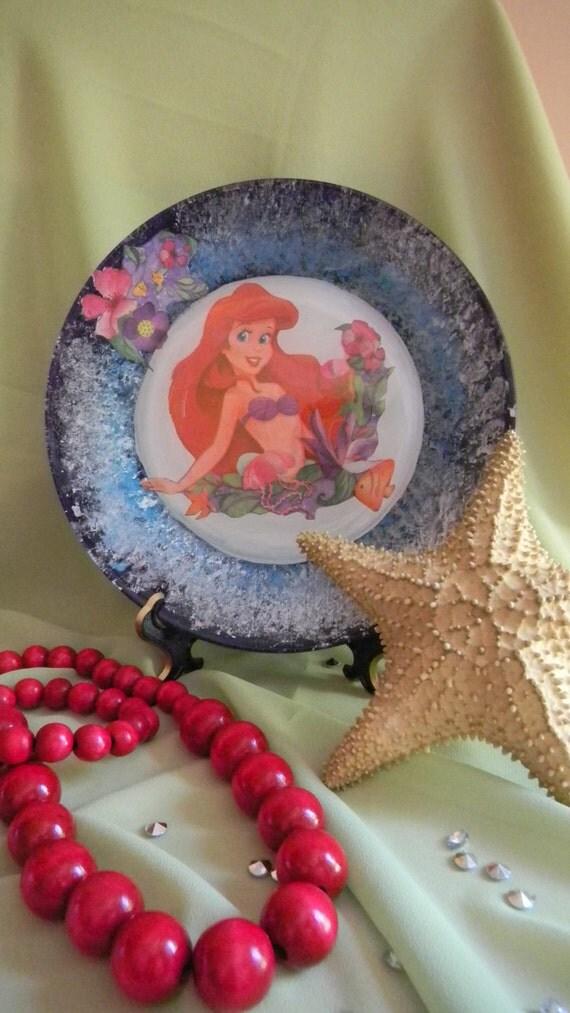 Decorative Little Mermaid Plate Decoupage