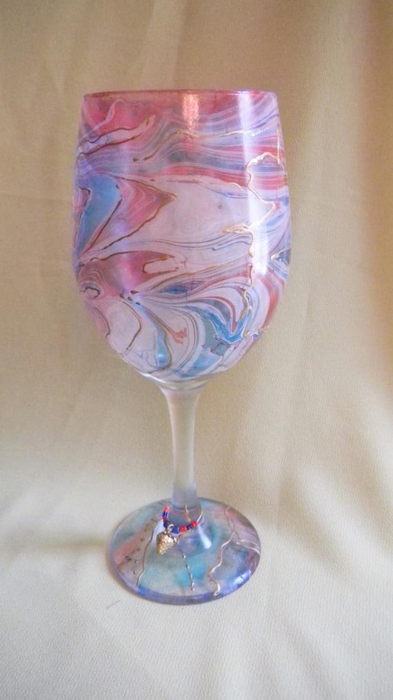 Decorative Marbled Wine Glass