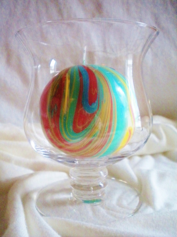 Round Red Blue Green and Yellow Marbled Candle
