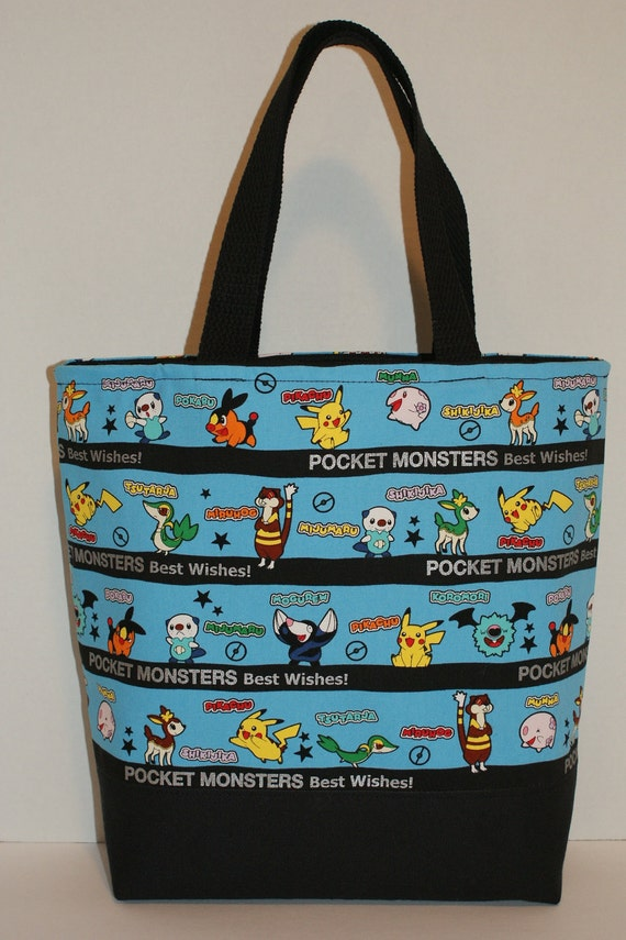 """Made to Order Large Tote Book Bag - Choose Your Fabric from Japanese Character Fabric """"Pokemon Best Wishes - Border"""""""