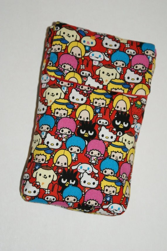 """Cell Phone Sleeve/Case with Belt Loop and Inner Pocket Made with """"Sanrio Characters"""" Fabric (Red)"""