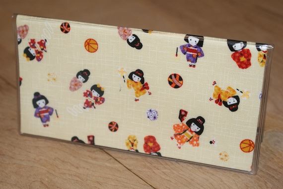 "Fabric Checkbook Cover WIth Vinyl Covering Made with Japanese Wagara Print   ""Warabe"" Ivory"