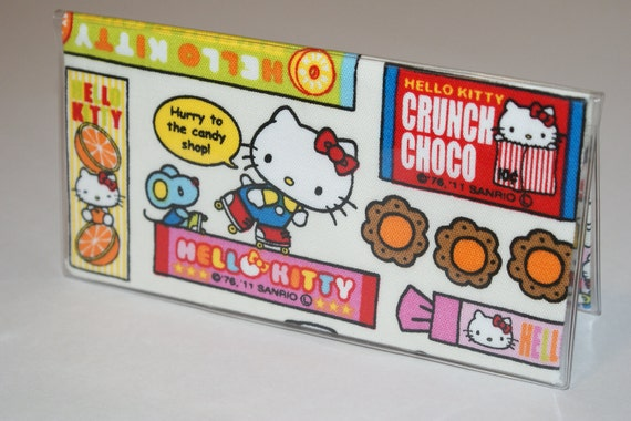 """Fabric Checkbook Cover With Vinyl Covering Made with  """"Hello Kitty -Candy Store"""" White"""