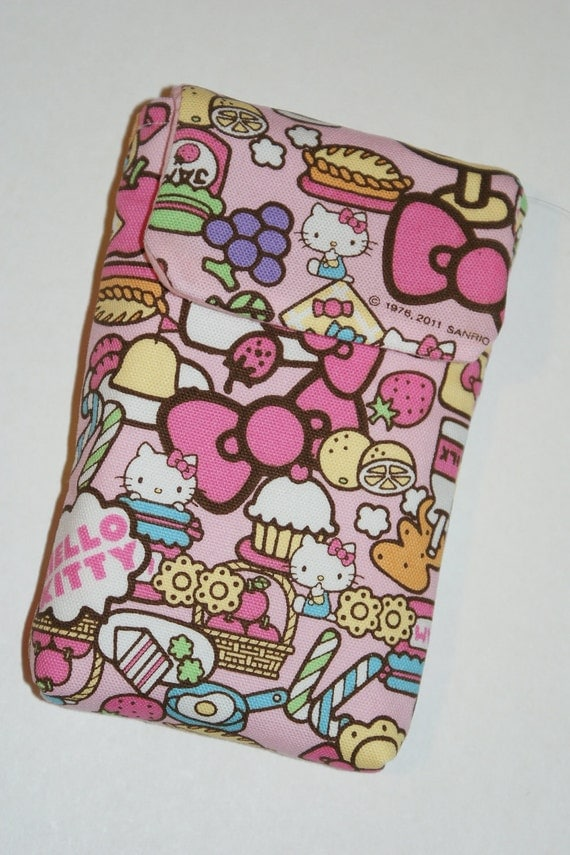 """Cell Phone Sleeve/Case with Belt Loop and Inner Pocket Made with """"Hello Kitty - Yummy"""" Fabric"""