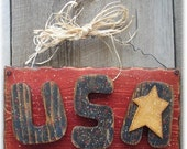 Americana USA Sign 4th of July Summer Hand Painted Wood