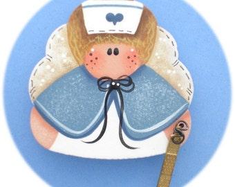 Angel Nurse Pin, Blue (Hand Painted Wood)