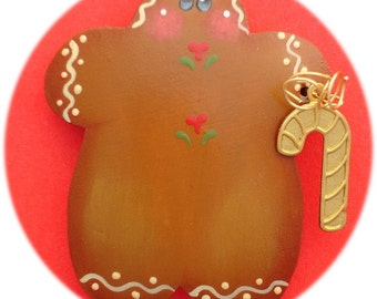 Gingerbread Pin Only  Hand Painted Wood Tole